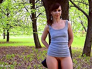 Young angel Jeny Smith walks in the fresh air and flashes clean-shaven sissy