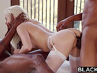 Champagne and dancing with black friends turn blonde angel on and she goes for threesome 10