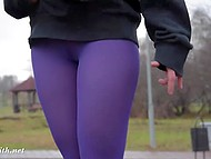 Jeny Smith was wearing leggings without panties, so anyone could see her butt and pussy 5