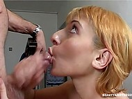 Golden-haired nymphomaniaс stopped old whiskered man on stars to feel his dick in pierced pussy 11