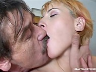 Golden-haired nymphomaniaс stopped old whiskered man on stars to feel his dick in pierced pussy 8