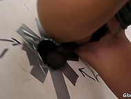 Big-tittied bitch was happy to see another black penis appeared from the second gloryhole 6