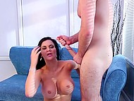 Practiced MILF with juicy shapes purposely flirts with younger guy to possess his stable cock 11