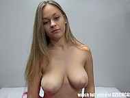 Busty Czech debutante calmly tells about her intimate life before passing porn casting 5