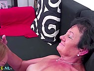 Young girl isn't shy about licking haired vagina and anal hole of perverted old woman 7