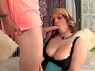Blonde-haired BBW was pleased by man's schlong size and took it in mouth immediately 5