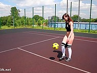 Red-haired girl went to a playground to play with a ball, but she forgot to put on panties 10
