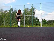 Red-haired girl went to a playground to play with a ball, but she forgot to put on panties 4