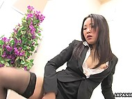 Office worker from Japan could finally take off her shoes and relaxe by mashing her hairy pussy 5
