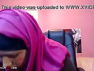 Fat Arab woman focused webcam on unshaved vagina and kneaded it with pink dildo 5