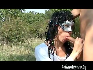 Masked brunette from Bulgaria went on nature walk to give blowjob and get fucked