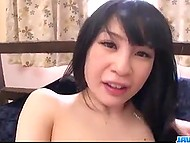 Skinny Asian moistened fuckstick orally and rode it with shaggy pussy afterward 11