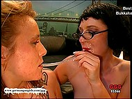 Two bitchy German MILFs like a lot copious amounts of sperm on their faces 11