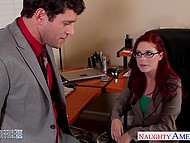 Boss was flirting with red-haired secretary Penny Pax and fucked her sissy in office 4