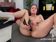 Young bitch stretches her vagina with kitchen tongs before brings favorite adult toy into play 4