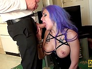 Merciless pervert mails butthole of obedient slut with purple hair and forces her to swallow cum 6