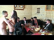 Brunette bitch had sex with one of the participants of celebration and tasted cum of his comrades 9