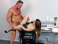 Businessman offered work to stepdaughter in his office but was seduced by this naughty bitch 11