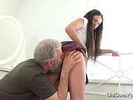 Old man licked and nailed appealing Russian's sissy but didn't assemble her bed so far 4