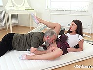 Old man licked and nailed appealing Russian's sissy but didn't assemble her bed so far 5