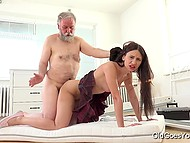 Old man licked and nailed appealing Russian's sissy but didn't assemble her bed so far 9