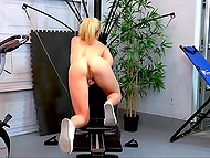 Light-haired lassie comes to the gym to knead shaved pussy but not to stretch out 10