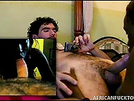 Curly tourist films young African girl riding and sucking his white pecker on compact camera 8