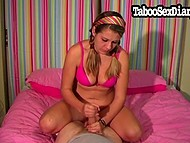 Eighteen-year-old babe with braids chats with older comrade and works his penis out 9