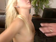White-haired babe with small titties presents her juicy pussy to Latin boyfriend with athletic body 11