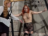 Red-haired prisoner in lace outfit was tied up and punished by perverted fatty girl in BDSM style 5