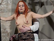 Red-haired prisoner in lace outfit was tied and punished by perverted fatty girl in BDSM style 8