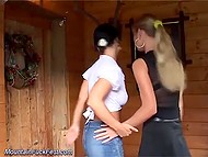 Two pals came to country house, not for barbecue but to knock boots with sexy hotties 5