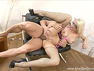 Blonde temptress with glasses and energetic partner are big fans of anal pounding 9