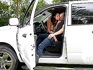 Young pal stopped his pickup on the fringe of the forest to fuck big-tittied girlfriend in car body 6