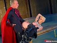 Of course superhero has zipper so he can fuck daring busty girl without taking off his suit 6