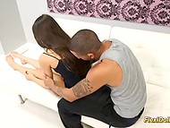 Latin boy was stretching lifeless doll's extremities before focusing on her rosy pussy 4