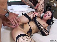 Huge penis of muscular guy has no mercy neither to hairy pussy of brunette babe not to wide asshole 4