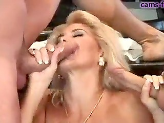Friends were not going to let phenomenal Italian Milly D'Abbraccio go until they fucked each of her holes
