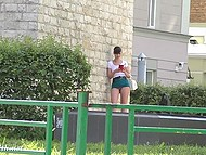 Shameless Jeny Smith walking in very short skirt and without panties by the Russian street 10
