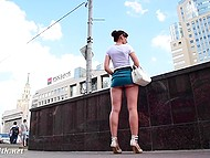 Shameless Jeny Smith walking in very short skirt and without panties by the Russian street 3