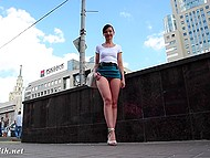 Shameless Jeny Smith walking in very short skirt and without panties by the Russian street 4