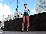 Shameless Jeny Smith walking in very short skirt and without panties by the Russian street
