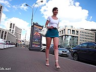 Shameless Jeny Smith walking in very short skirt and without panties by the Russian street 6