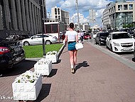 Shameless Jeny Smith walking in very short skirt and without panties by the Russian street 7