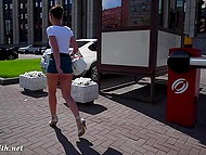 Shameless Jeny Smith walking in very short skirt and without panties by the Russian street 8