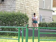 Shameless Jeny Smith walking in very short skirt and without panties by the Russian street 9