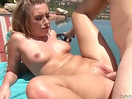 Teen kitten couldn't sunbath light-heartedly because her rosy pussy was suddenly invaded by hard boner 10