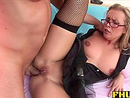 Dirty-minded MILF lifts her short skirt up to offer her lustful anal hole to excited partner 7