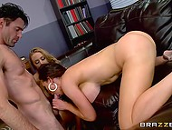 Working cabinet is used by lustful boss to resolve important problems with his busty secretaries 8