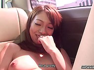 Trip seemed to be long, so male used vibrator to entertain Japanese passenger's hairy pussy 5